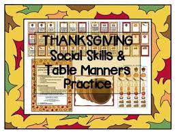 thanksgiving social skills pragmatics etiquette activity