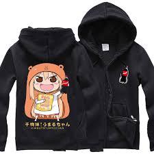 fleece autumn hoodies zipper men coat doma umaru anime cos