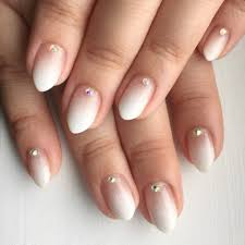 white ombré gel nails with rhinestones yelp