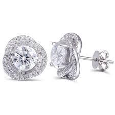 push back earrings transgems 2 ctw lab grown moissanite diamond stud earrings push