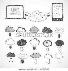 cloud computing sketch icons clouds phone stock vector 162970457