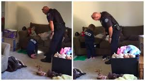 police officer helps little hunt for monsters in her house