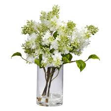Fake Flower Centerpieces Nearly Natural 15 In H White Lilac Silk Flower Arrangement 4805