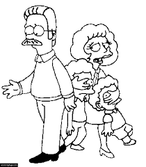 the simpsons ned maude rod and todd flanders coloring page for
