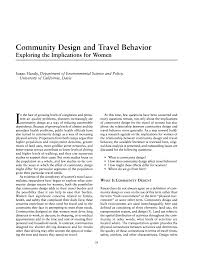 community design and travel behavior exploring the implications