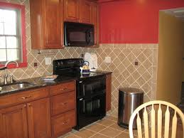Red Kitchen Backsplash Ideas Kitchen Great Brown Diagonal Tile Kitchen Backsplash With Red