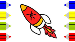 how to draw rocket learning rainbow colors for baby coloring