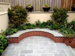 backyard feature blue stone patio u0026 curved bench jeff king and