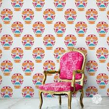 wallpapers archives sugar crafts skull wallpaper for walls sugar skulls grey and silver feature