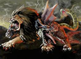 chimera a fire breathing creature was represented with the