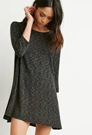 forever 21 marled knit trapeze dress in gray lyst