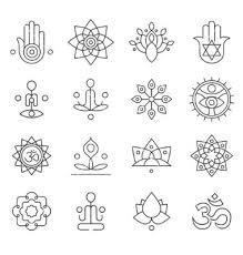 yoga tattoo pictures yoga icons and line badges graphic design vector yogas pinterest