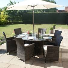 Rattan Patio Dining Set by Milan Rattan Outdoor Garden Furniture 6 Seater Brown Oval Dining