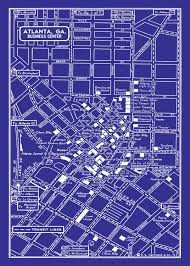 Atlanta Ga Map 1949 Vintage Map Of Atlanta Georgia 20x30 Blueprint Map Print