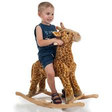 amazon com happy trails giraffe plush rocking animal toys u0026 games