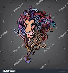silhouette head lion color stock vector 341937551 shutterstock