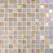 Crystal Glass Mirror Tile Backsplash Stone  Glass Blend Mosaic - Square tile backsplash