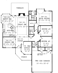 unique single level house plans elevation view for 9951 3 bedroom
