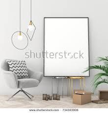 scandinavian color mock poster frame scandinavian interior light stock illustration
