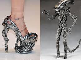 Skull High Heels It Must Be Ladies Night Hr Giger Alien High Heels Geekologie