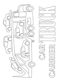 car carrier truck coloring page transportation 22 best images