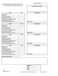 Sod Estimate by Landscaping Business Estimate Form Hashdoc