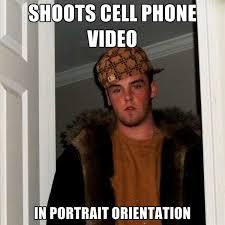 Meme Cell Phone - shoots cell phone video in portrait orientation create meme