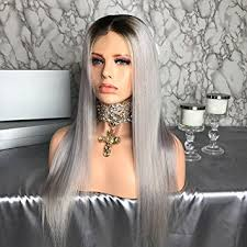 black at root of hair amazon com shy hair ombre 1b grey human hair wig ash gery human