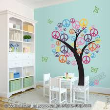 peace sign tree wall decal childrens nursery decor vinyl