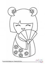 kokeshi doll coloring japan preschool multicultural unit