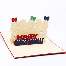 children s cards 3d laser cut handmade carving paper happy 5 kids invitation