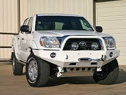 lifted nissan frontier white front winch mount bumper for 4th generation tacoma 2005 2014