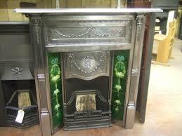 fully polished cast iron edwardian tiled fireplace 132tc old