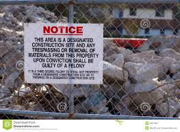 construction site no trespassing sign royalty free stock