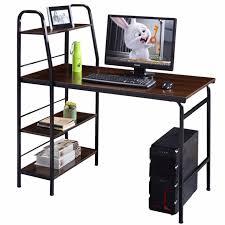 multi tiered computer desk goplus 48 multi function computer desk with 4 tier shelf