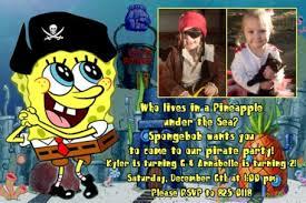 pirate spongebob birthday party invitations