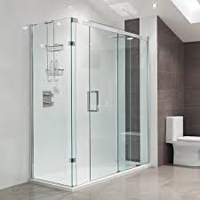 bathroom roman shower with recessed lighting and free standing