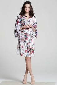 f07187 white cotton robe floral silk robe plus size bath robe