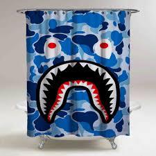 Fashion Shower Curtain Best Cheap Blue Bape Shark Custom Shower Curtain High Quality 60
