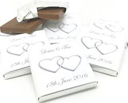 wedding chocolates 100 personalised chocolate wedding favours silver entwined