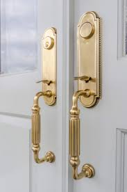 door handles lever door handles on french doors stock photo