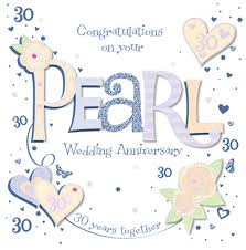 30 wedding anniversary handmade pearl 30th wedding anniversary greeting card cards