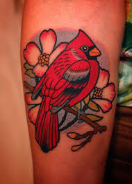 Flower And Bird Tattoo - awesome flowers and cardinal tattoo on arm jpg 871 1220