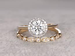 set diamond 2pcs moissanite wedding ring set diamond matching band two tone