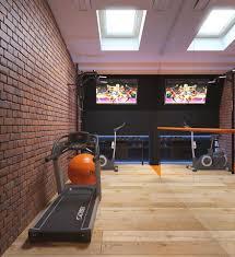 Home Gym Decor Ideas Gym Room Design Idea Present Exposed Brick Wall And Wood Flooring