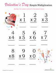 valentine u0027s day single digit multiplication worksheet