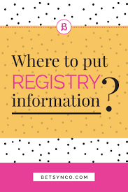 where to put wedding registry information betsy n co creative