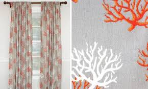 Coral And Grey Shower Curtain Coastal Stripe Shower Curtain Rlf Home