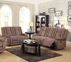 Reclining Fabric Sofa Brand Furniture 2 Mocha Microfiber Reclining Sofa