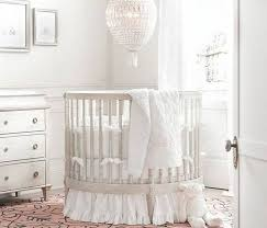 Nursery Decoration Bedroom Grey Metal Round Cribs With Silver Bedding For Nursery